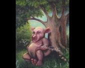 Black Belly Original Painting, Folk Tale, Fairy Tale, Storybook Art, Elf, Brownie, Sylvan Spirit, Spirit of the Forest, Enchanted Forest