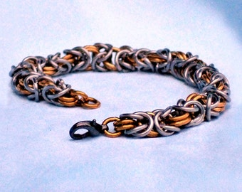 Byzantine Chainmaille Bracelet, Bronze and Stainless Steel