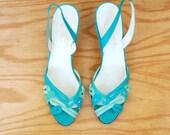 Vintage 70s Garolini Aqua Sandals size 10 9 1/2 9.5