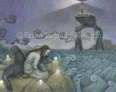 Selkie Art, Seal Painting, Lighthouse Fine Art Print  - Sea Lion Dream (Lost Selkie)