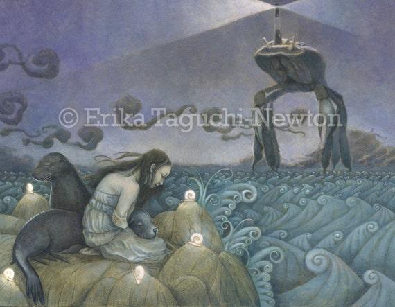 Selkie 16x12 Fine Art Print, Seal Painting, Lighthouse Art  - Sea Lion Dream (Lost Selkie)