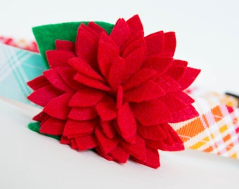 Flower Dog Collar - Red Dahlia Plaid