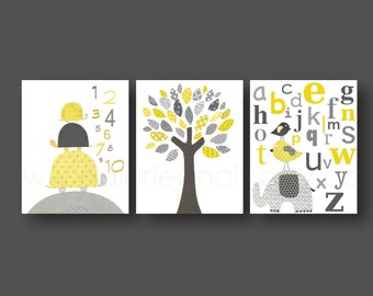 Nursery art baby nursery decor Kids children art yellow gray bird Tree turtle numbers elephant alphabet Set of three print