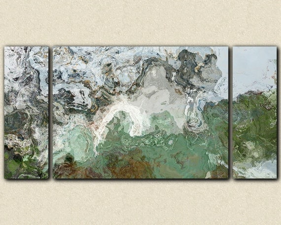 """Large triptych giclee stretched canvas print, 30x60 to 40x78, abstract expressionism in teal and gray, from abstract painting """"River Wind"""""""