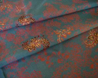 SALE Vintage silk Japanese kimono fabric (blue,pink)