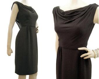 Vintage 50s 60s Dress Brown Chiffon Draped Wiggle Cocktail M