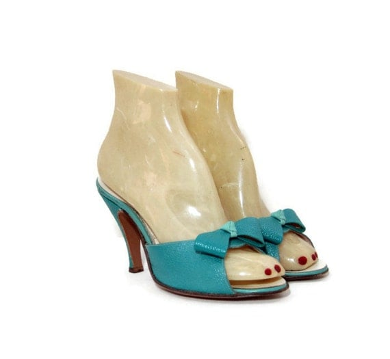 RESERVED 50s Shoes Vintage Springolator Turquoise Leather Bow Mules Sandals Heels 6.5