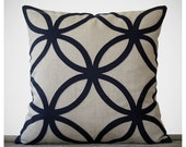 20in Navy Geometric PILLOW COVER in Natural Linen by JillianReneDecor | Designer Home Decor | Midnight Blue
