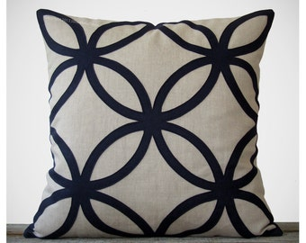 20in Navy Geometric PILLOW COVER in Natural Linen by JillianReneDecor | Designer Home Decor | Midnight Blue | Decorative Pillow | Wool Felt