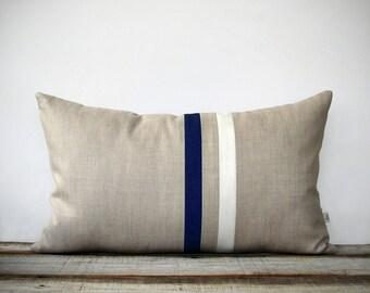 Navy and Cream Striped Lumbar Pillow (12x20) Modern Home Decor by JillianReneDecor | Minimal | Midnight Blue | Indigo