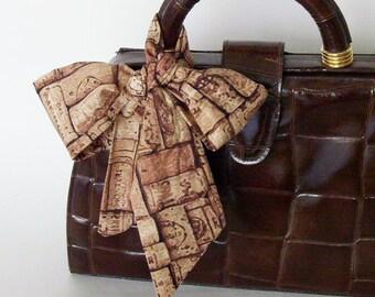 Brown Wine Corks Head Scarf / Hair Accessory / Neck Scarf / Handbag Adornment / Hair Scarf / Gift Under 15