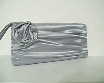 Eve clutch with rose (choose your colors) Monogram available - Bridesmaid gifts, bridesmaid clutches, wedding party