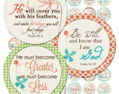 Instant Download - CHRISTian Scripture 5 (1 inch Round) Bottlecap Images Digital Collage Sheet printable sticker magnet button jewelry Jesus