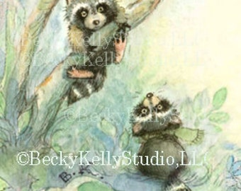 Woodland Bookmark with Raccoons, Animals, Forest, Reading, books, waldorf style bookmark