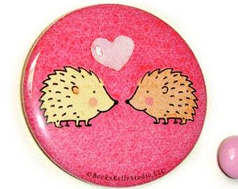 Hedgehog love,  small pocket mirror, sweet gift