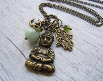 Buddha Necklace, Yoga Necklace, Green Aventurine, Long Boho Necklace, Boho Chic, Boho Jewelry,  Bohemian Necklace, Buddha Jewelry, Yoga Gift