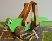Toy Lime Green Grasshopper Pull Toy - Handcrafted wooden lime green grasshopper pull toy