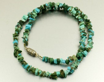 Turquoise Necklace, Vintage, Turquoise Chip Necklace, Turquoise Chip Beads