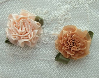 18pc ANTIQUE APRICOT PEACH Organza Satin Ribbon Fabric Flower Applique Shabby Chic Baby Doll Carnation Cabbage Rose Bow