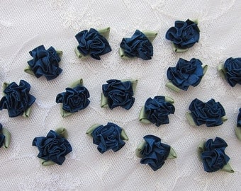18pc NAVY BLUE Satin Ribbon Fabric Flower Applique Shabby Chic Baby Doll Carnation Cabbage Rose Bow