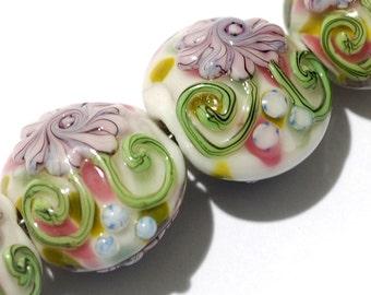 Four Light Pink w/Blue Floral Lentil Beads - Handmade Glass Lampwork Bead Sets 11005412