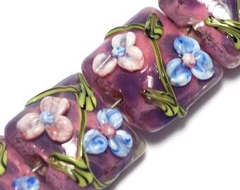 Four Violet Garden Pillow Beads-10603014-Glass Lampwork Beads