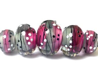 Five Diva Party Graduated Rondelle Beads - Handmade Glass Lampwork Bead Set 10109711