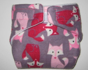 Baby Doll Cloth Diaper/Wipe-Cute Foxes-Fits Bitty Baby, Baby Alive, Cabbage Patch Dolls and More