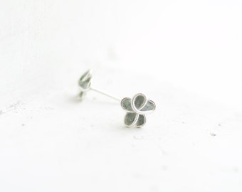 Slate Dove Gray Forget Me Not Post Earrings, 1st 4th Anniversary Gift Jewelry, Stocking Stuffer Teen Girl Best Friend Long Distance Petite