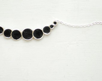 Minimalist Bubble Necklace, Black Jewelry, Sterling Silver Necklace, Paper Jewelry