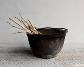 Antique Vintage Cast Iron Cosper Smelting Crucible Pot Cauldron - shavingkitsuppplies