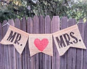 Handmade Mr & Mrs with hearts burlap and jute rustic wedding love hanging sign banner 2 ft mr and mr mrs and mrs