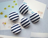 Handmade Marine Nautical Navy Dark Blue White Stripes Fabric Covered Buttonss Fridge Magnets, Flat Backs, CHOOSE SIZE 5's