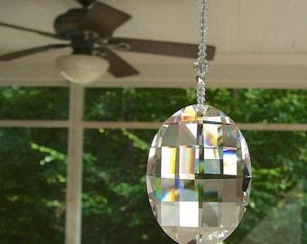 "Swarovski Crystal Light Pull, Fan Pull or Suncatcher - 50mm Oval Matrix Pendant on Strand of Swarovski Crystal Beads - ""GABRIELLA"""