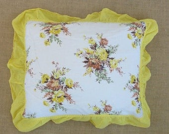 Vintage Pillow Cover Floral Yellow Shabby Cottage Chic Linen Bedding Girl