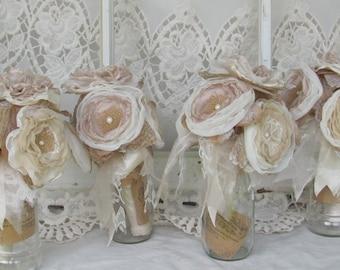 Bride Maids Bouquets, Burlap Bridesmaids bouquets,burlap wedding, burlap flowers, blush wedding flowers, fabric bouquet, rustic bouquet