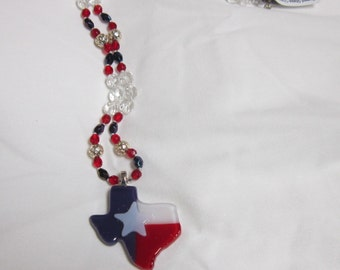 Texas Flag Fused Glass Pendant and Beaded Necklace