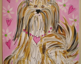Custom Dog Painting From Photo Fun Style Large Canvas Any Breed YelliKelli