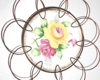 Vintage Porcelain Plate in a black metal wire holder Roses painted on the plate Shabby Chic