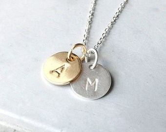Double Initial Necklace Personalized Jewelry Personalized Necklace Initial Pendant Gold Silver Mothers Day fashion