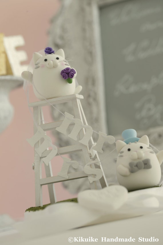 cat and kitty Wedding Cake Topper---k848
