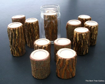 Rustic Candle Holders for Mason Jars Set of 12 for the Rustic Wedding