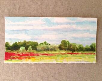 Wildflower Field Landscape - Original Watercolor Painting by Paige Smith-Wyatt