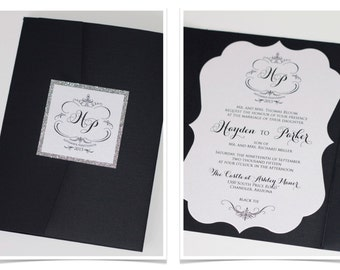 Hayden Die-cut Frame Glitter Wedding Invitation - Pocket fold - Vintage Wedding Invitation - Black, White, Silver Glitter - Sample