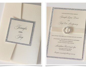 Glitter Wedding Invitation, Elegant Wedding Invitation, Vintage Wedding Invitation, Ivory, Champagne, Silver Glitter - Jennifer Sample