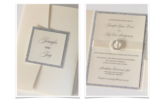 Glitter Wedding Invitation, Elegant Wedding Invitation, Vintage Wedding Invitation, Ivory, Champagne, Silver Glitter - Jennifer Sample
