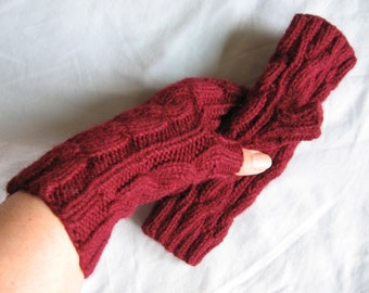 Burgundy Hand Knit Fingerless Unisex Gloves