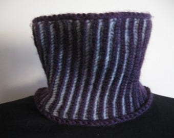 Plum Purple and Silver A Little Biased Reversible Hand Knit Cowl Wide Headband--Made to Order