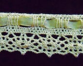 Cluny Lace Trim with Satin Ribbon Insertion at Top / Baby Yellow Color Lace Sewing Trim  1 1/4 Inch Wide / Three Yard Piece