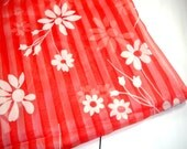 Vintage Fabric, Sheer, Striped, Flocked Flowers, Red and White, Sewing  (544-13)
